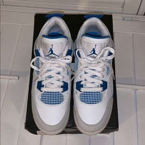Air Jordan 4 retro white/ Military blue-grey